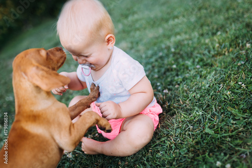 Portrait of cute baby playing with dog Poster