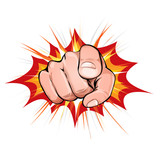 Pointing Finger On Explosion Background - 179817836