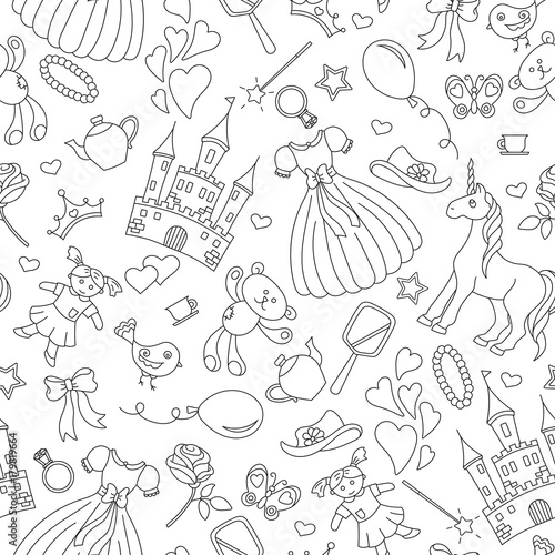 obraz lub plakat Seamless pattern on the theme of Hobbies baby girls, simple contour icons, black contour on white background