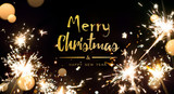Merry Christmas; abstract holidays light on black background - 179820620