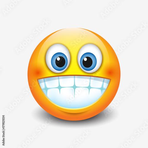 Cute smiling, grinning emoticon showing teeth, emoji