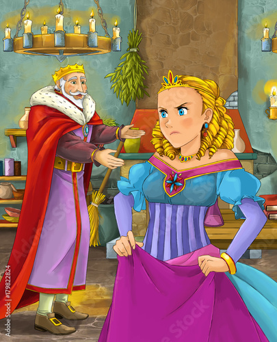 cartoon scene with happy king in castle kitchen and beautiful young lady - illustration for children - 179822824