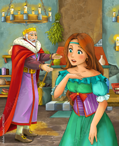 cartoon scene with happy king in castle kitchen and beautiful young lady - illustration for children - 179823017