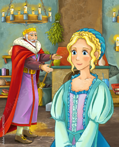 cartoon scene with happy king in castle kitchen and beautiful young lady - illustration for children - 179823231