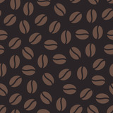 Coffee beans seamless pattern, vector background. Repeated dark brown texture for cafe menu, shop wrapping paper.