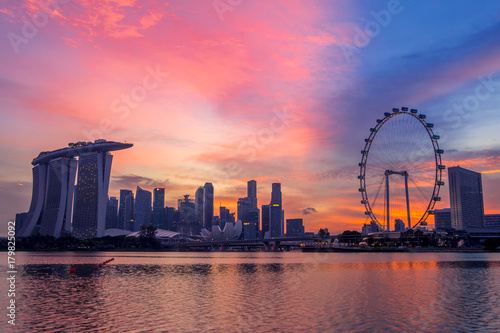 Singapore at the Pink Sunset Poster