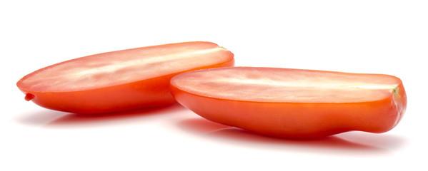 Halved San Marzano tomato isolated on white background two halves