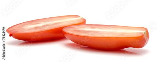 Fotobehang Verse groenten Halved San Marzano tomato isolated on white background two halves