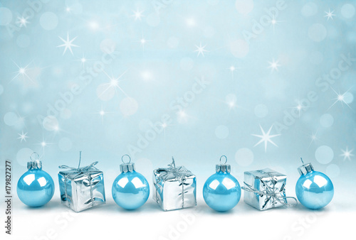 Blue Christmas decoration with nice bokeh - 179827277