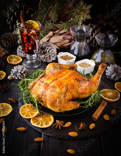 Baked turkey for Christmas or New Year - 179828664