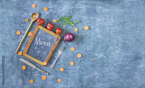 Sticker menu template, black bord, kitchen utensils,vegetables,free copy space