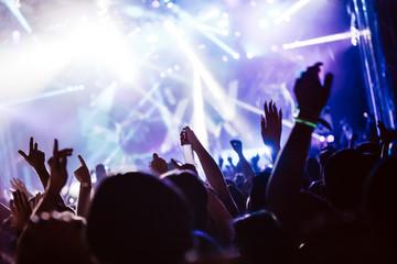 Cheering crowd at concert enjoying music performance
