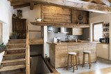 wood kitchen in cottage style - 179832474