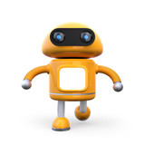 Front View Of Cute Orange Robot    3d Rendering Image Wall Sticker
