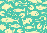 Seamless background of fish
