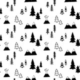 Vector seamless pattern with mountains and trees - 179842088