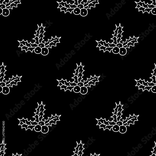 Materiał do szycia  Christmas seamless pattern with wreath. Perfect design for textile design, wrapping paper, cards.