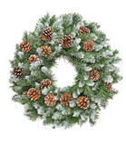 Christmas decoration evergreen pine wreath cones white background