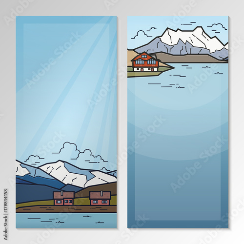 Staande foto Lichtblauw Nature landscape with mountains and seashore. Brochure template layout.