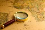 magnifier on vintage map
