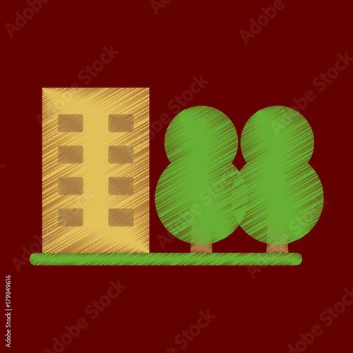 Foto op Plexiglas Bruin Flat Icon in Shading Style multi-storey building