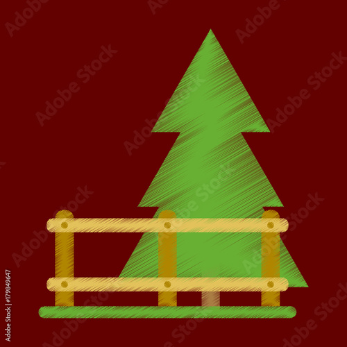 Fotobehang Bruin Flat Icon in Shading Style Fenced spruce