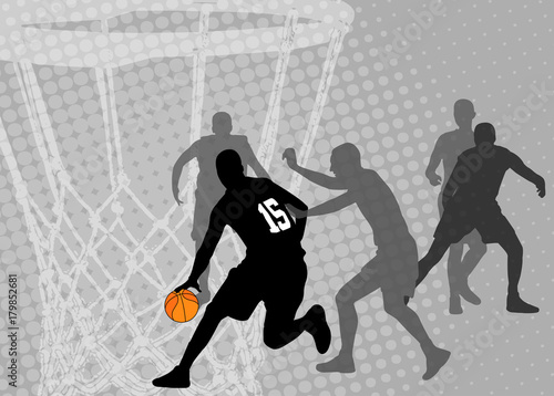Obraz na płótnie basketball on the abstract halftone background - vector