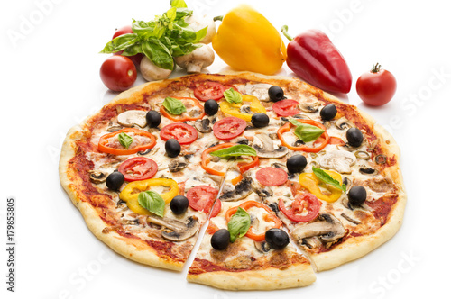 Papiers peints Pizzeria Pizza with ham, pepper and olives