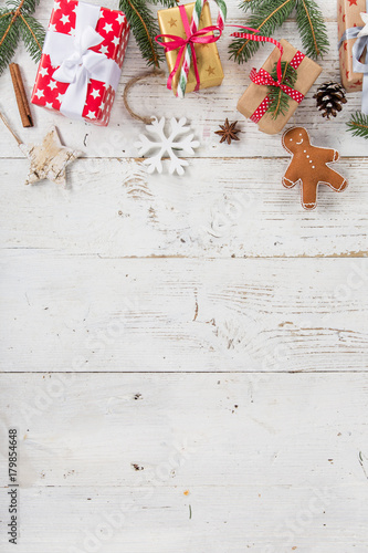 Christmas decoration on wooden background - 179854648