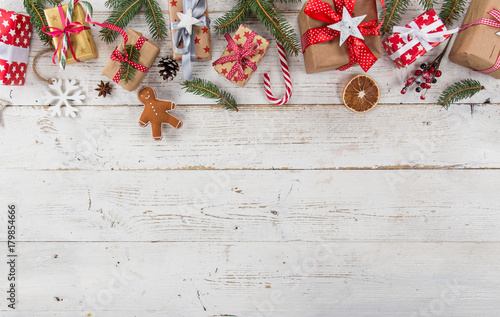 Christmas decoration on wooden background - 179854666