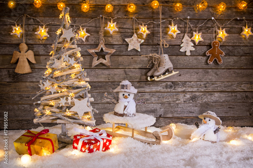 Christmas decoration on wooden background - 179855082