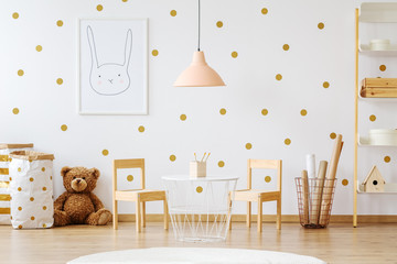 Teddy bear in child's room