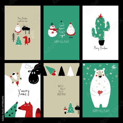 Set Of Retro Funny Christmas Cards.