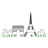 Paris cityscape isolated on white background, Vector illustration