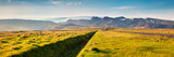 Panorama of the typical icelandic landscape with volcanic mountains