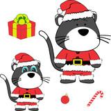 xmas baby cat cartoon santa claus costume set in vector format