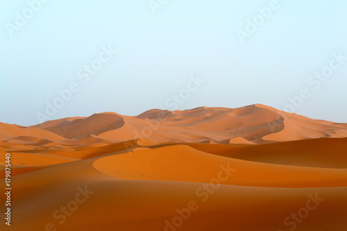 Foto op Canvas Marokko Merzouga sand dunes in evening sun, Morocco