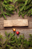 Christmas Tree and decorations on wooden background - 179880296