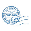 CHICAGO blue round postmark for envelope