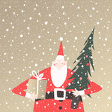 Winter holidays vector card with Santa Claus holding wrapped present and Christmas tree on golden background