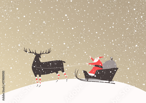 Fototapeta Santa Claus with a bag of gifts on a sleigh and his reindeer in funny stockings. Merry Christmas vector card.