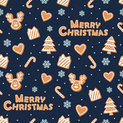 Christmas seamless pattern. Gingerbread cookies and snowflakes on dark blue.