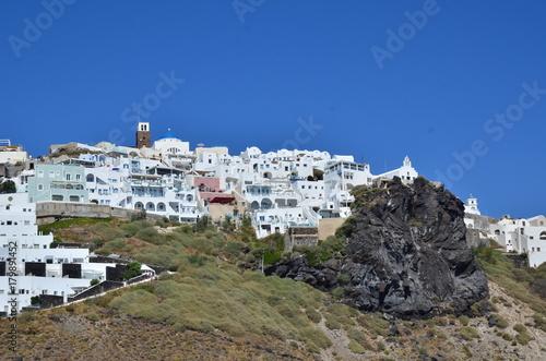 Fotobehang Santorini VILLAGE DE THIRA ET CALDEIRA SANTORIN GRECE