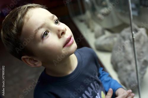 Curiosity boy in museum Plakat