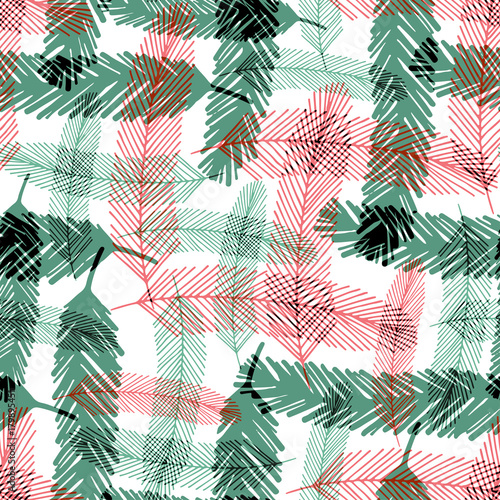 Materiał do szycia Seamless pattern with green and red fir tree branches. Vector checkered texture for Christmas textile design.