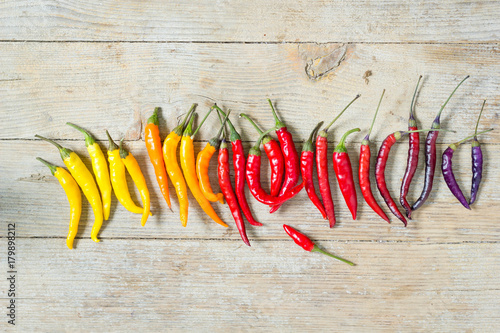 Fotobehang Hot chili peppers Colorful chili peppers in color order on wooden table, top view.