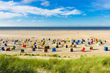 Beach chairs on the island of Juist, Germany - 179899871