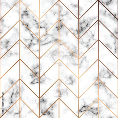 Vector marble texture, seamless pattern design with golden geometric lines, black and white marbling surface, modern luxurious background - 179899891
