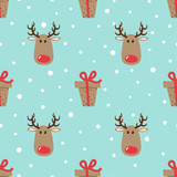 Fototapety Christmas pattern with cute deers and gifts. Vector holiday background.