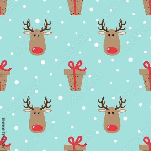 Materiał do szycia Christmas pattern with cute deers and gifts. Vector holiday background.